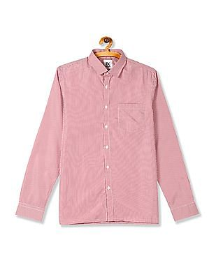 Excalibur Red Semi Cutaway Collar Check Shirt