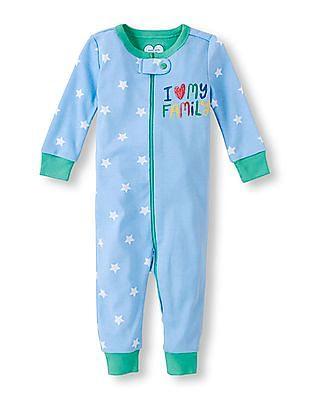 The Children's Place Baby Boy Blue Long Sleeve 'I Love My Family' Star Split Print Full-Length Stretchie