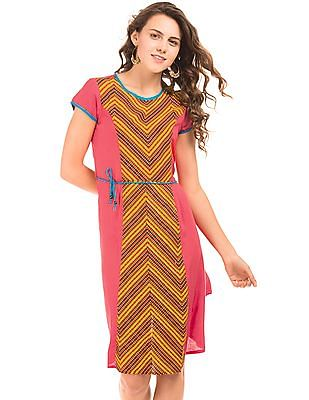 Bronz Printed Front Fit And Flare Dress