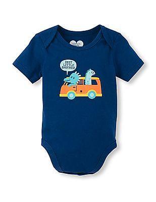 The Children's Place Baby Boys Short Sleeve Bus Graphic Little Talker Bodysuit