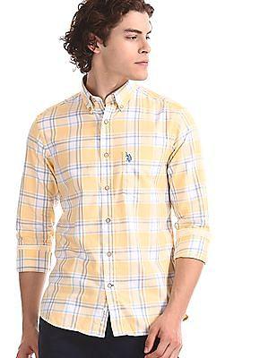 U.S. Polo Assn. Yellow Button Down Collar Check Shirt