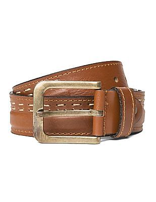 Ed Hardy Contrast Stitch Leather Belt