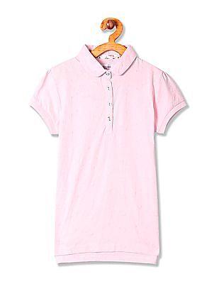 U.S. Polo Assn. Kids Girls Short Sleeve Schiffli Polo Shirt