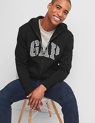GAP Men Black Logo Fleece Zip Hoodie