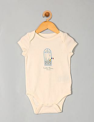 GAP Baby White Hello City Graphic Bodysuit