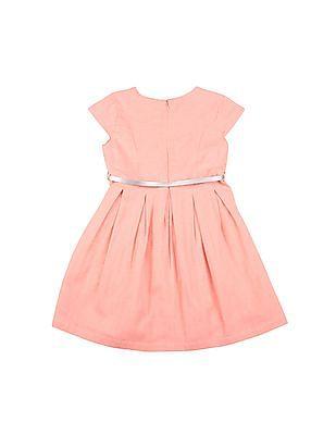 U.S. Polo Assn. Kids Girls Herringbone Weave Fit And Flare Dress