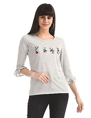 Elle Studio Grey Bell Sleeve Embroidered Top