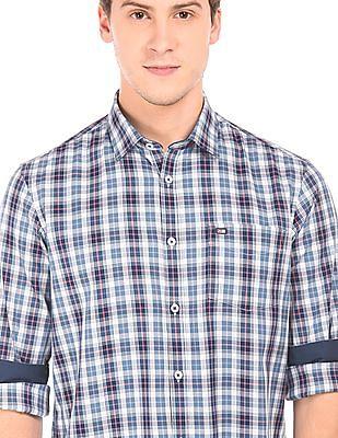 Arrow Sports Spread Collar Check Shirt