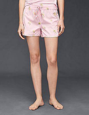 GAP Women Pink Dreamer Print Shorts In Poplin