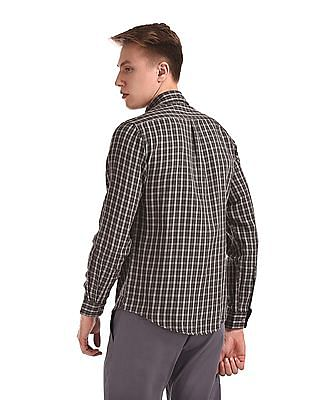 Roots by Ruggers Grey Spread Collar Check Shirt