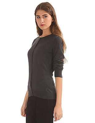 U.S. Polo Assn. Women Round Neck Lambswool Cardigan