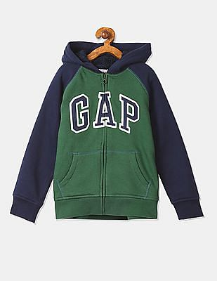 GAP Boys Green Hooded Colour Block Sweatshirt