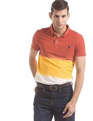 U.S. Polo Assn. Denim Co. Ombre Effect Muscle Fit Polo Shirt