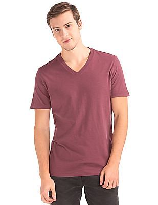 GAP Men Red Slub V-Neck Tee