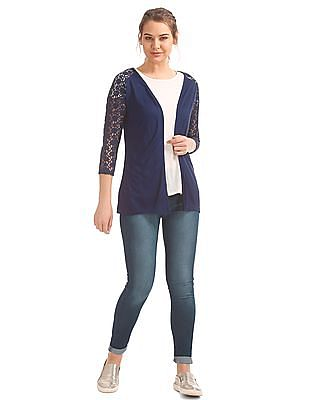 Cherokee Lace Panel Open Front Shrug
