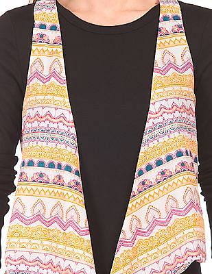 Bronz Printed Sleeveless Shrug