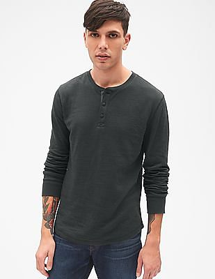 GAP Men Grey Long Sleeve Double-Face Henley T-Shirt