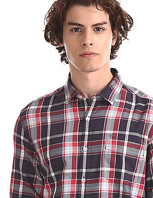 Flying Machine Multi Colour Cutaway Collar Patterned Shirt