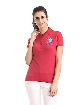 U.S. Polo Assn. Women Red Solid Cotton Stretch Polo Shirt