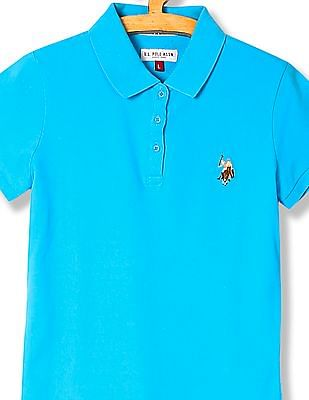 U.S. Polo Assn. Kids Girls Solid Pique Polo Shirt