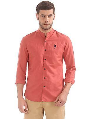 U.S. Polo Assn. Mandarin Collar Linen Cotton Shirt