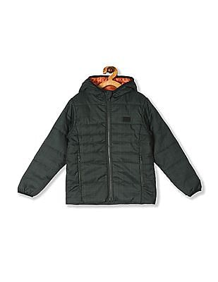 FM Boys Green Boys Hooded Printed Jacket
