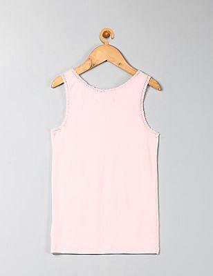 GAP Girls Pink Ribbed Lace Tank