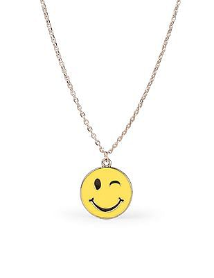 The Children's Place Girls Winking Emoji Face Necklace