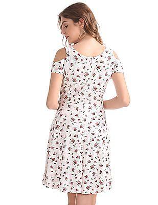 SUGR Floral Print Cold Shoulder Dress