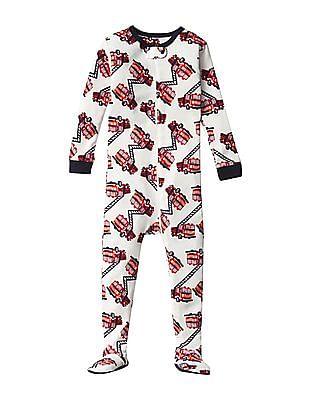 GAP Baby White Firetruck Footed Sleep One Piece