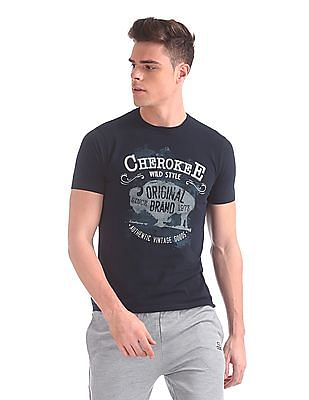 Cherokee Crew Neck Printed T-Shirt