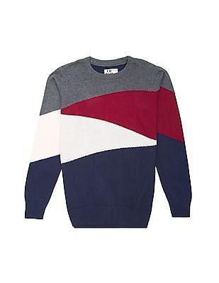FM Boys Boys Crew Neck Colour Block Sweater