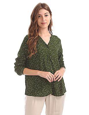 Cherokee Printed Mandarin Collar Shirt