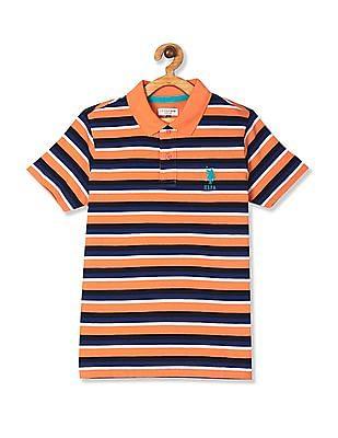 U.S. Polo Assn. Kids Orange Boys Striped Cotton Polo Shirt