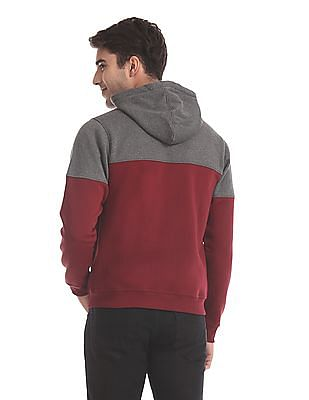 Flying Machine Grey And Maroon Colour Block Hooded Sweatshirt