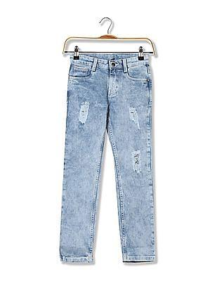 FM Boys Boys Skinny Fit Acid Washed Jeans