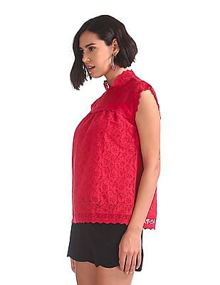 SUGR Round Neck Lace Top