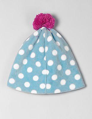 GAP Toddler Girl Blue Dot Fleece Pom-Pom Beanie