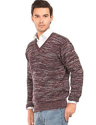Arrow Sports Patterned V-Neck Sweater