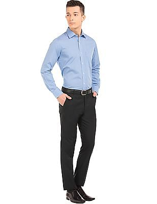 Arrow Patterned Weave Tapered Fit Trousers