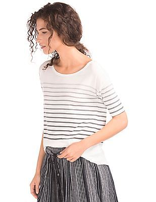 GAP Women White Stripe Short Drop Sleeve Tee