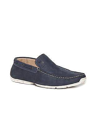 U.S. Polo Assn. Blue Round Toe Textured Loafers