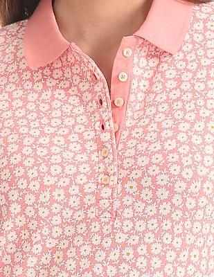 GAP Women Pink Short Sleeve Print Polo