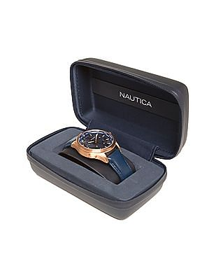 Nautica Leather Strap Chronograph Watch
