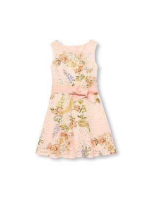 The Children's Place Girls Sleeveless Floral Belted Lace Dress