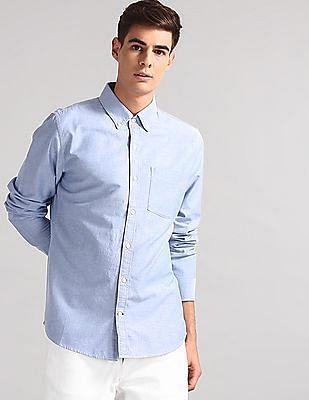 GAP Blue Oxford Solid Slim Fit Shirt