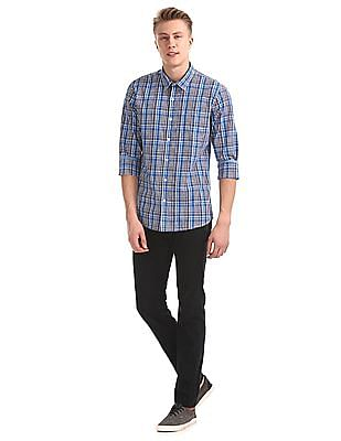Roots by Ruggers Blue Spread Collar Check Shirt