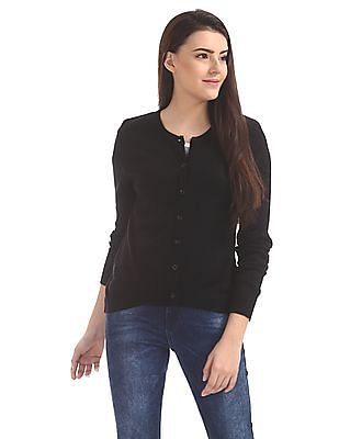 Cherokee Round Neck Solid Cardigan