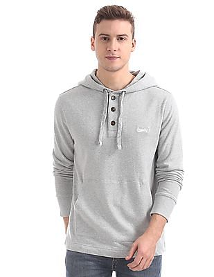 Aeropostale Drawstring Hoodie Buttoned Sweatshirt