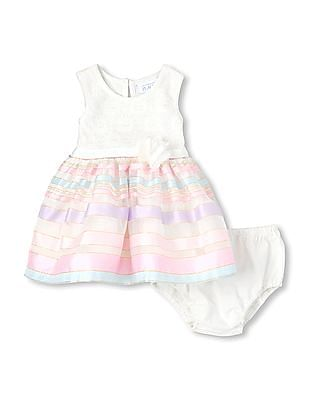 The Children's Place Baby Girl Sleeveless Lace And Striped Skirt Knit-To-Woven Dress And Bloomers Set